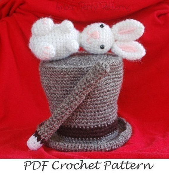 PDF Pattern - Amigurumi Magic Hat With Rabbit And Wand