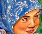 EBSQ Mexican Child COA included original 5 x 7 small format art SFA