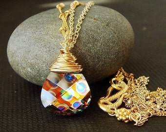 Swarovski Crystal Necklace, Peacock,  Wire Wrapped, Dichroic, Gold Necklace, Rainbow,  Psychedelic, Limited Edition