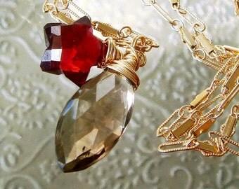 Garnet Necklace, Gemstone Star Necklace, Bi Color Smoky Quartz, Holiday Gold Necklace, Gemstone Charms, Smokey Quartz, January Birthstone