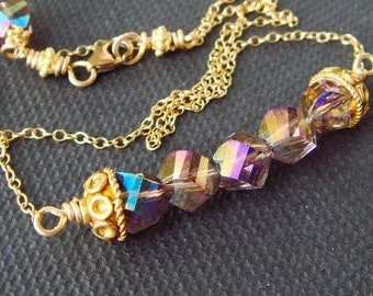 Swarovski Crystal Gold Necklace, Rainbow Beads, Row Parade Swag, Tornado Crystals, Rainbow Jewelry, Rainbow Crystal Necklace, Lovely Luxe