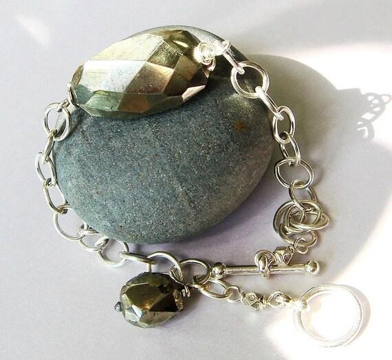 Pyrite Jewelry, Pyrite Bracelet, Sterling Bracelet, Pyrite Nugget Bracelet, Chunk Gemstone, Sterling Silver Bracelet - Rock It