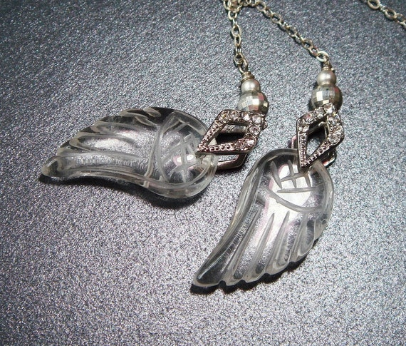 Rock Quartz Crystal Wing Feather Pendant Lariat Necklace - Sterling Silver Necklace
