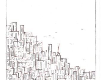 "8.5x11inch Original Illustration ""The City"""