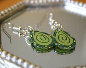 Paisley Dangle Earrings in olive green