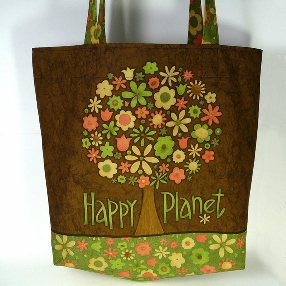 Happy Planet Tote - Get a jump start on an earth friendly New Years Resolution - Great Stocking Stuffer