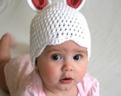 Bunny hat with Scalloped Rim - All sizes and other colors available