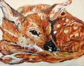 Deer Painting : Autumn Deer Original Painting, Sweet Baby Fawn, Children's Room Wall  Art