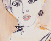 Edie Sedgwick Painting: Framed Original Painting, 1960s Fashion Icon, Factory Girl, Andy Warhol Star, Edie segwick