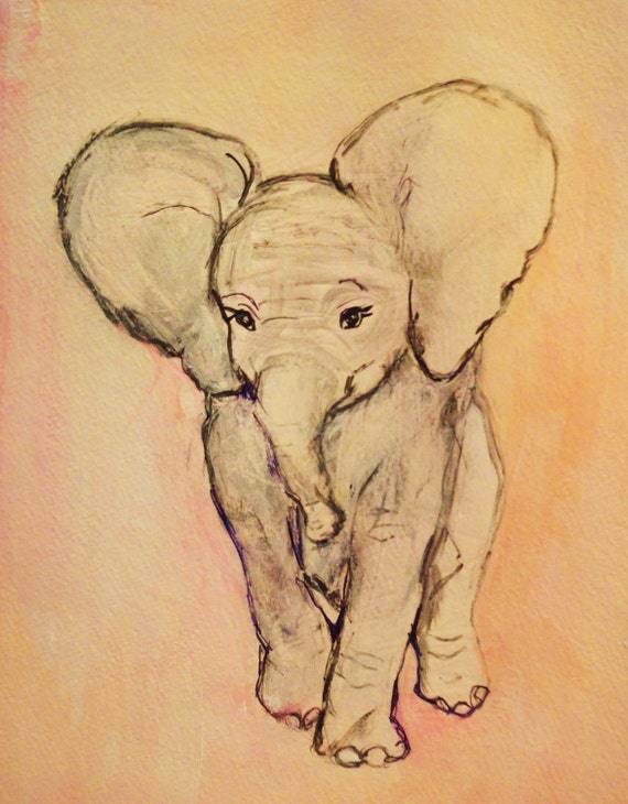 Pastel Pink Elephant:  Original Painting, Easy to frame, Nursery room decor