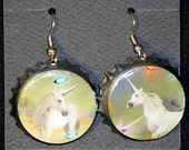 Recycled Bottlecap Earrings (Unicorns)