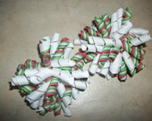 Boutique White, Green, Purple, Pink  Striped Korkers Hair Bows - Set of 2...HALF PRICE SALE