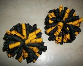 "Boutique Black and Gold ""Steelers"" Korkers Hair Bows - Set of 2....HALF PRICE SALE"