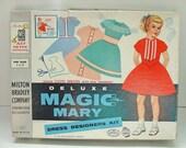 CHRISTMAS CLOSEOUT 50% off Vintage 1959 Milton Bradley Magic Mary Deluxe Dress Designers Kit