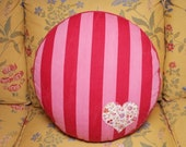 Raspberry Pink Stripe Vintage French Ticking and Floral with Heart Applique, 18-inch Round Box Pillow
