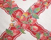 Yummy Strawberries Vintage Table Topper in Excellent Condition - 33 x 31 Inches