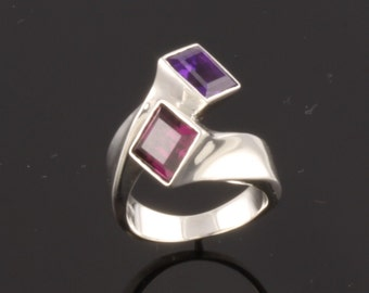 Sterling Silver Ring set with one 7mm square faceted Amethyst and Rhodolite