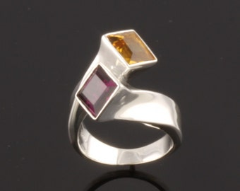 Sterling Silver Ring set with one 7mm square facet cut Rhodolite and one facet cut Citrine
