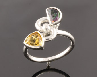 Sterling silver ring set with one 6mm trillion Citrine and 6x4mm half moon Mystic Topaz.