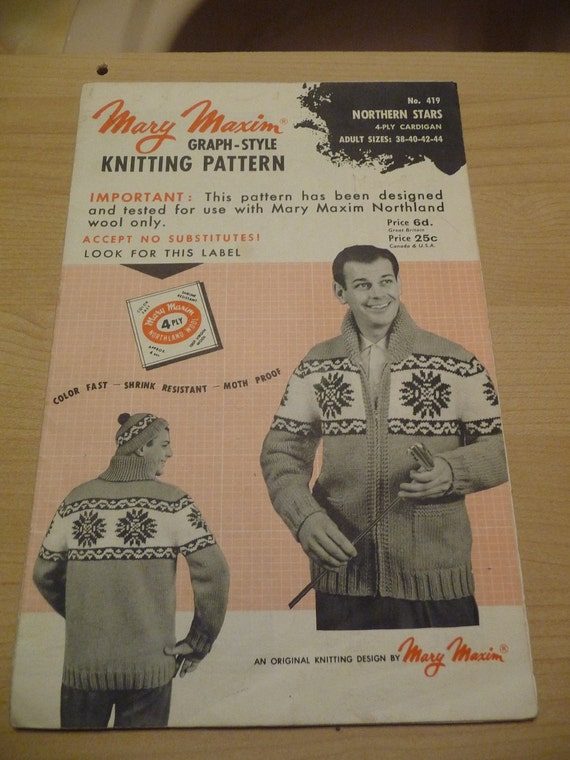 CLEARANCE- Vintage Knitting Pattern- Men's Snowflake Ski Sweater- Mary Maxim