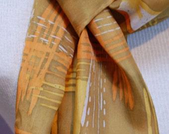 Batik Silk Scarf / Painted Scarf / Green Orange Yellow / Hand Dyed / Splendor in the Grass