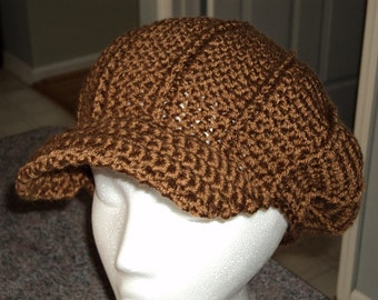 Brimmed Beret with Cables