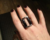 leather ring- Black Patent