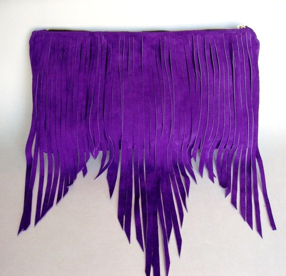 Suede Fringe Bag Purple - Last one Fall/ Winter color