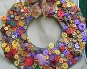 Multi-Color Fall Autumn Button Wreath