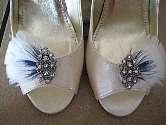 Touch Of Blue - Bridal Feather Shoe Clip