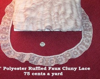 Faux Cluny Ruffled Lace Trim - Candlelight Cream, Ivory  5 yards @ .85 yd