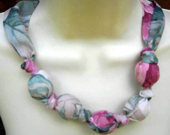 Fabric Knot Statement Necklace - Soft Green and Pink Cabbage Roses