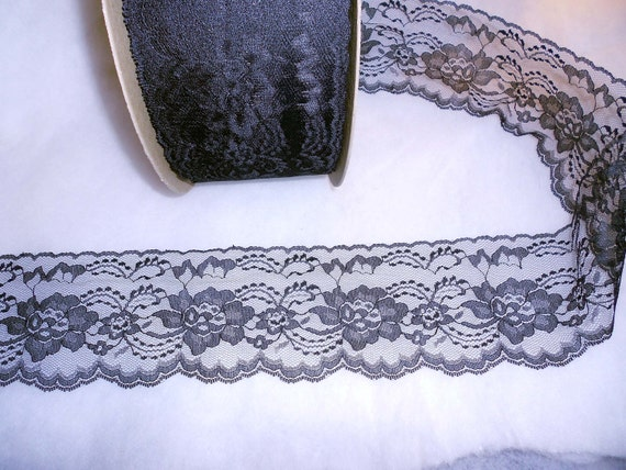 4 and a quarter inch black flat lace trim -  10 yards ( .75 cents per yard)