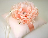 Peach Silk Georgette and Satin Ring Bearer Pillow with Silk Peony Flower and Rhinestone Crystal Accent - Peony Blush