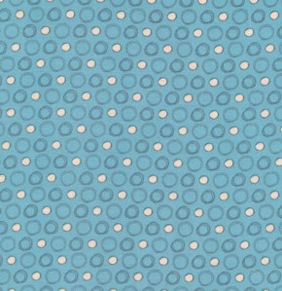 Blue and White Polka Dot Fabric by the Half Yard