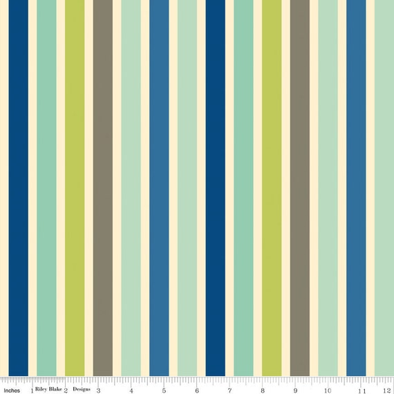 Blue and Green Stripe Fabric Seaside by Riley Blake Designs