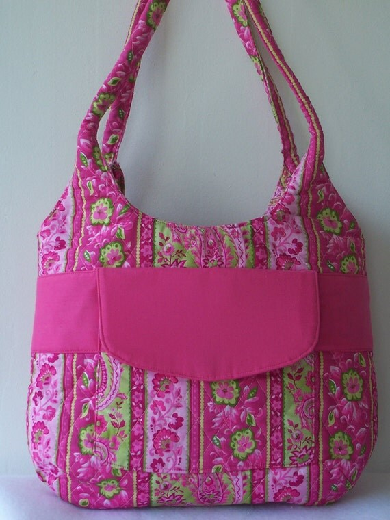 Quilted Purse With Compartments in Floral Hot Pink and Green Handbag