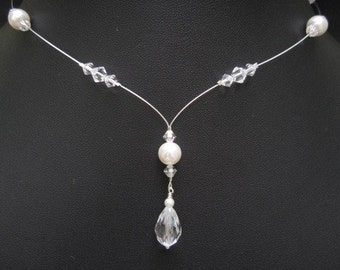 Y Drop Necklace Bridal Swarovski Crystal Pearl Floating Bridesmaid Wedding Jewelry Amanda
