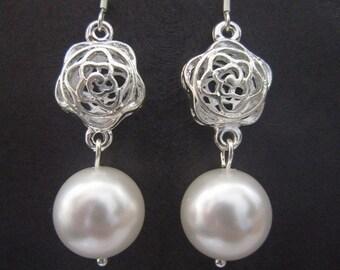 Rose Bridal Earrings - Swarovski Pearls Filigree Sterling Silver