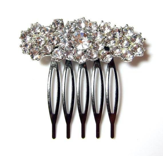 BRIDAL - Wedding Hair Comb, Accessories, White, Rhinestones, Crystal, Swarovski, Czech crystal - Style 30