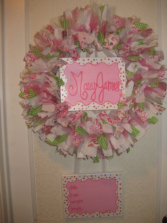 Reserved for Terrie Bores - Custom Boutique Baby Wreaths, Birth Announcements, and Hospital Door Hangers