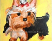 Yorkie yorkshire terrier pet portrait on yellow- Signed archival Giclee Print 8x10