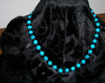 Turquoise with black glass pearls necklace