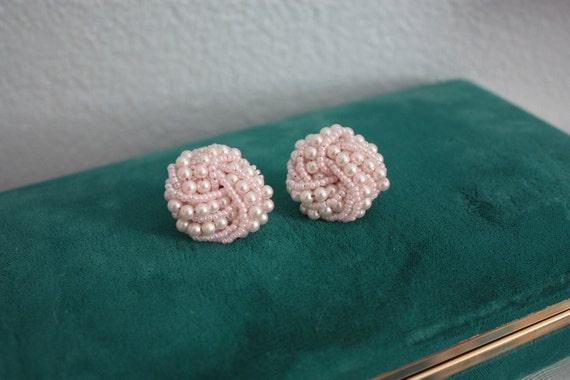 vintage 60s beaded earrings - Tied in Knots pastel pink stud cocktail costume cluster wedding