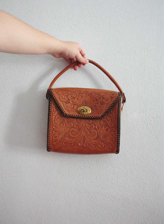 SALE /// vintage 60 hand tooled hand bag - Uniquely Yours stitched leather floral motif Initials J.G. two tone