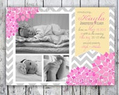 Baby Girl Birth Announcement -Chevron and Floral - Photo Birth Announcement - Printable file - Fast turnaround