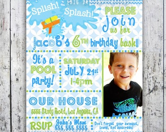 Pool Party Birthday Invitation - Printable Invite Boy or Girl