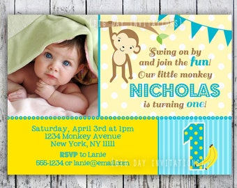 Mod Monkey Birthday Invitation 1st Birthday Polka Dot Birthday Party Invitation Boys or Girls Printable