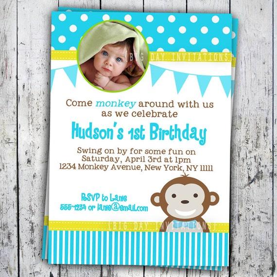 ... 1st Birthday Polka Dot Birthday Party Invitation Boys or Girls