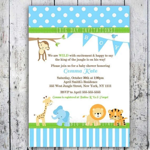 safari baby shower invitations jungle animal theme printable, Baby shower invitations